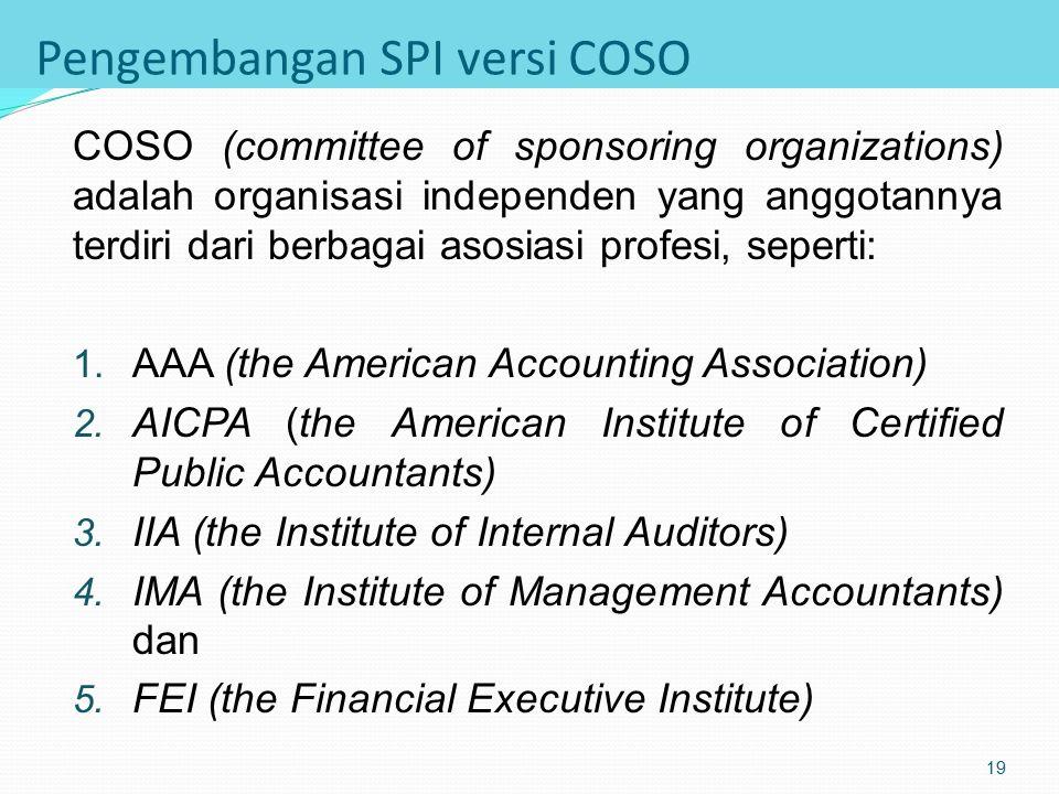 Pengaruh Eksteren atas SPI Pihak eksteren yang berpengaruh besar terhadap SPI antara lain adalah: 1. Auditor independen 2. Pemerintah 3. Asosiasi prof
