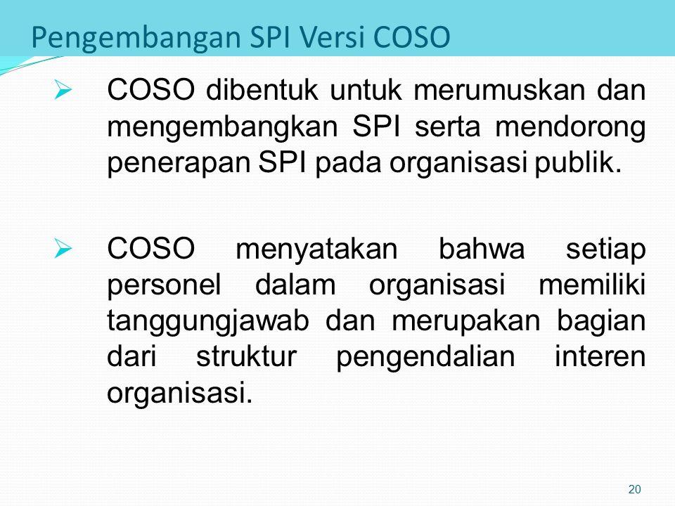 Pengembangan SPI versi COSO COSO (committee of sponsoring organizations) adalah organisasi independen yang anggotannya terdiri dari berbagai asosiasi