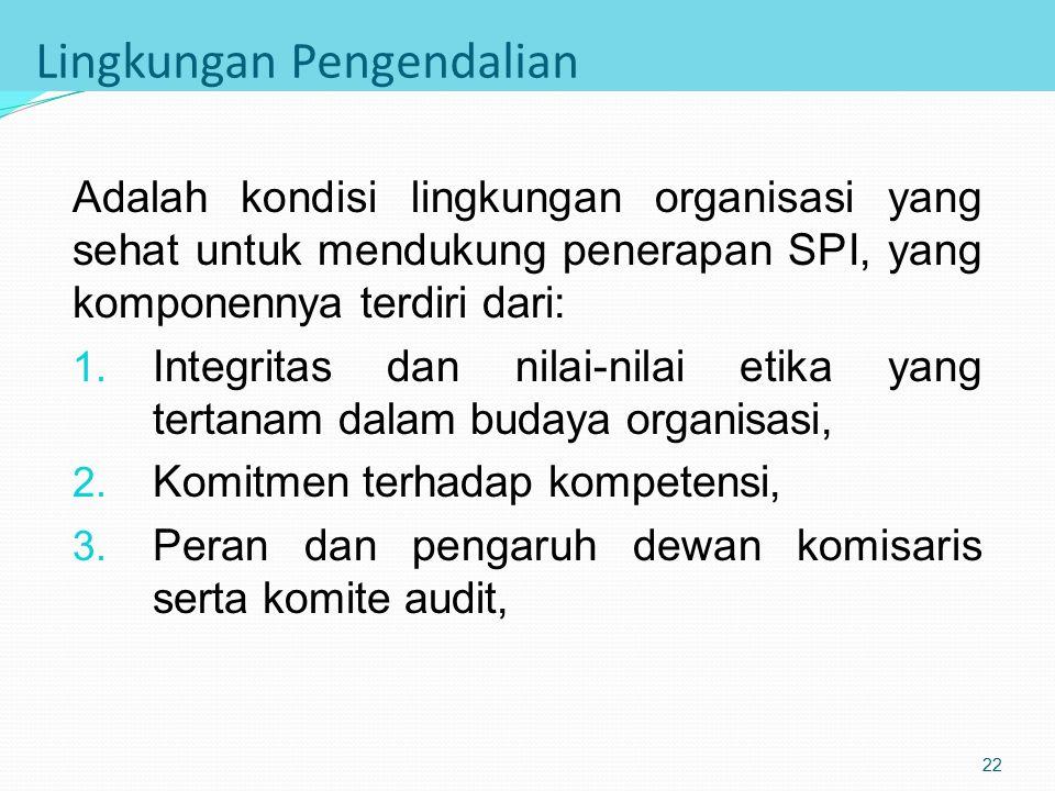 Komponen SPI Versi COSO 1. Lingkungan pengendalian (control environment) 2. Pengukuran risiko (risk assessment) 3. Aktivitas pengendalian (control act
