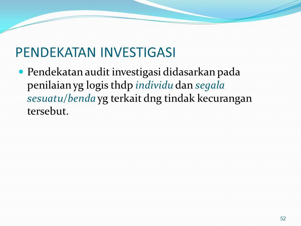 51 AUDIT INVESTIGASI Investigasi merupakan penerapan kecerdasan, pertimbangan yg sehat dan pengalaman, selain juga pemahaman thd ketentuan perundangan