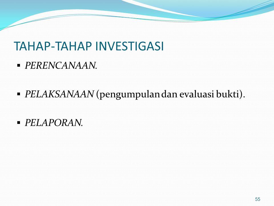 54 LANJUTAN ( prinsip2 investigasi) Informasi yg diperoleh dari hasil wawancara dng saksi akan sangat dipengaruhi oleh kelemahan manusia. Investigator