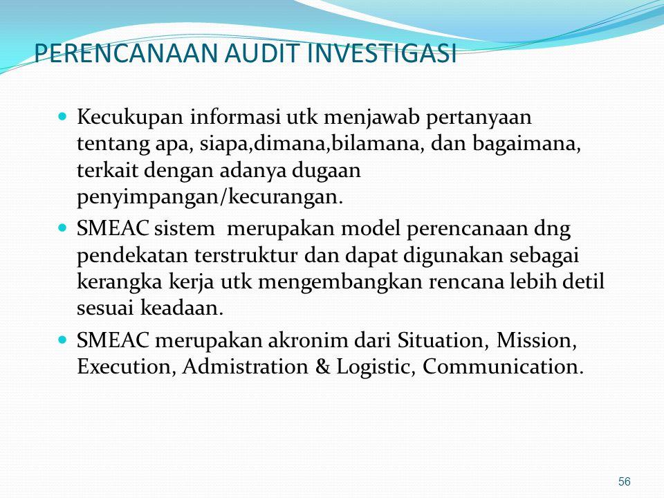 55 TAHAP-TAHAP INVESTIGASI  PERENCANAAN.  PELAKSANAAN (pengumpulan dan evaluasi bukti).  PELAPORAN.