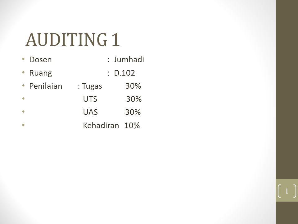 AUDITING 1 Dosen: Jumhadi Ruang : D.102 Penilaian: Tugas 30% UTS 30% UAS 30% Kehadiran 10% 1