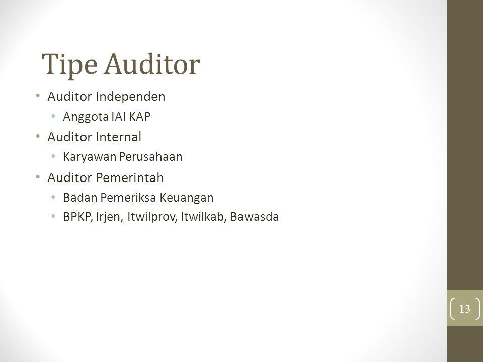 Tipe Auditor Auditor Independen Anggota IAI KAP Auditor Internal Karyawan Perusahaan Auditor Pemerintah Badan Pemeriksa Keuangan BPKP, Irjen, Itwilprov, Itwilkab, Bawasda 13