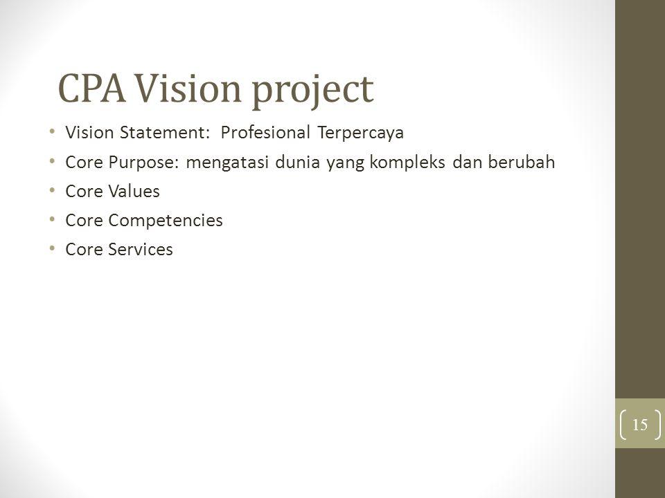 CPA Vision project Vision Statement: Profesional Terpercaya Core Purpose: mengatasi dunia yang kompleks dan berubah Core Values Core Competencies Core Services 15
