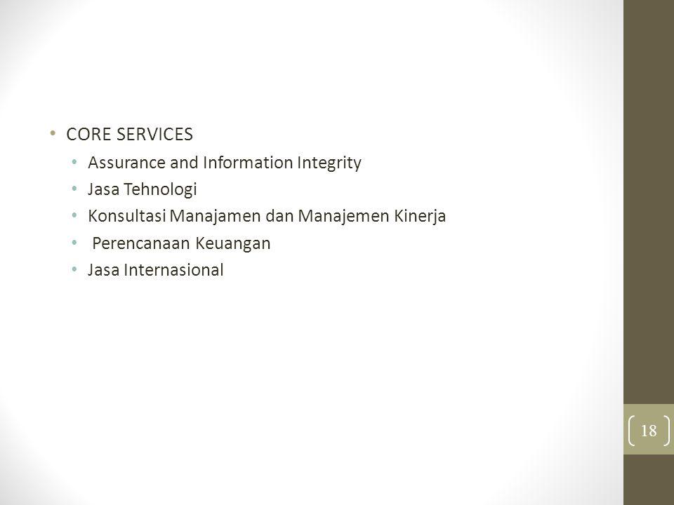 CORE SERVICES Assurance and Information Integrity Jasa Tehnologi Konsultasi Manajamen dan Manajemen Kinerja Perencanaan Keuangan Jasa Internasional 18
