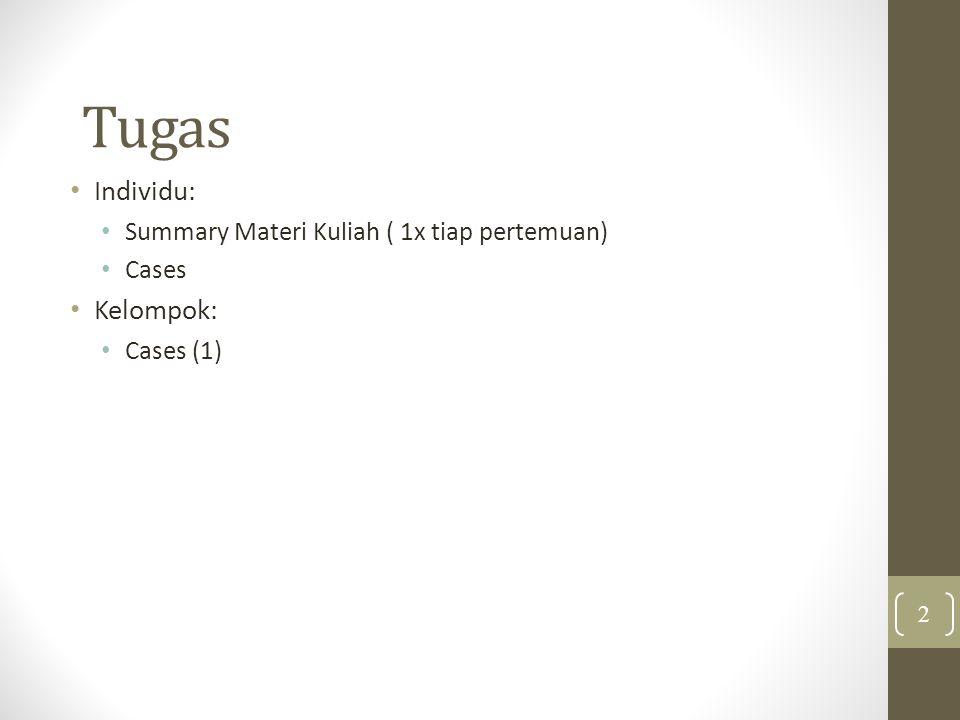 Tugas Individu: Summary Materi Kuliah ( 1x tiap pertemuan) Cases Kelompok: Cases (1) 2
