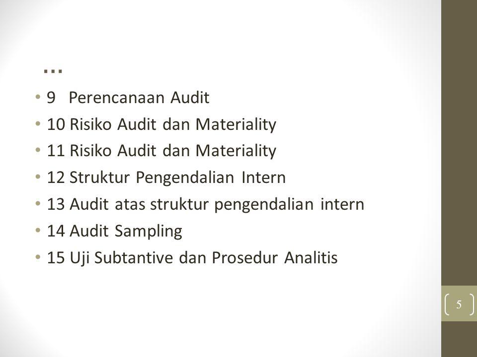 … 9 Perencanaan Audit 10 Risiko Audit dan Materiality 11 Risiko Audit dan Materiality 12 Struktur Pengendalian Intern 13 Audit atas struktur pengendalian intern 14 Audit Sampling 15 Uji Subtantive dan Prosedur Analitis 5