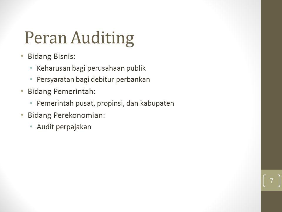 Peran Auditing Bidang Bisnis: Keharusan bagi perusahaan publik Persyaratan bagi debitur perbankan Bidang Pemerintah: Pemerintah pusat, propinsi, dan kabupaten Bidang Perekonomian: Audit perpajakan 7