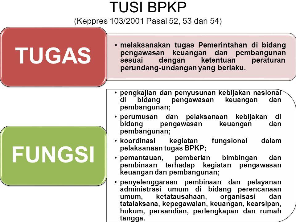 TUSI BPKP (Keppres 103/2001 Pasal 52, 53 dan 54) melaksanakan tugas Pemerintahan di bidang pengawasan keuangan dan pembangunan sesuai dengan ketentuan