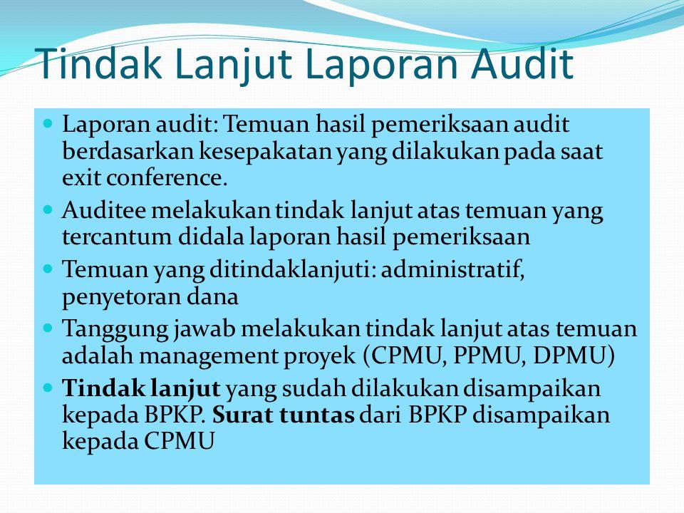 Tindak Lanjut Laporan Audit Laporan audit: Temuan hasil pemeriksaan audit berdasarkan kesepakatan yang dilakukan pada saat exit conference. Auditee me