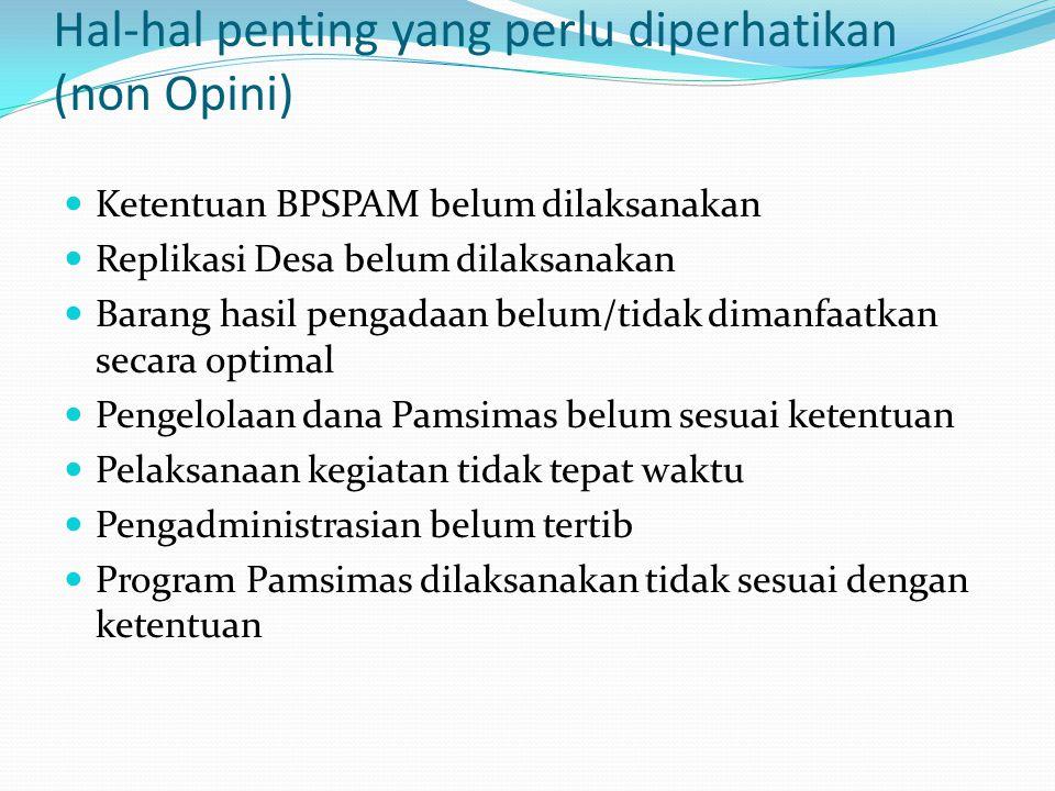 Hal-hal penting yang perlu diperhatikan (non Opini) Ketentuan BPSPAM belum dilaksanakan Replikasi Desa belum dilaksanakan Barang hasil pengadaan belum