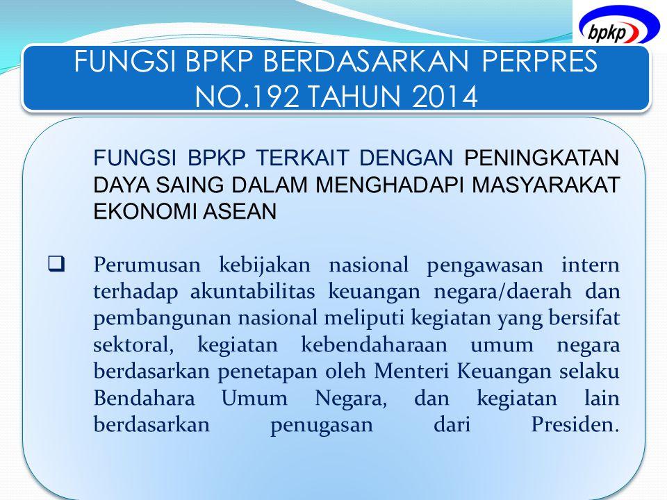 FUNGSI BPKP BERDASARKAN PERPRES NO.192 TAHUN 2014 FUNGSI BPKP TERKAIT DENGAN PENINGKATAN DAYA SAING DALAM MENGHADAPI MASYARAKAT EKONOMI ASEAN  Perumu