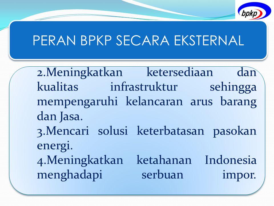 PERAN BPKP SECARA EKSTERNAL 2.Meningkatkan ketersediaan dan kualitas infrastruktur sehingga mempengaruhi kelancaran arus barang dan Jasa. 3.Mencari so