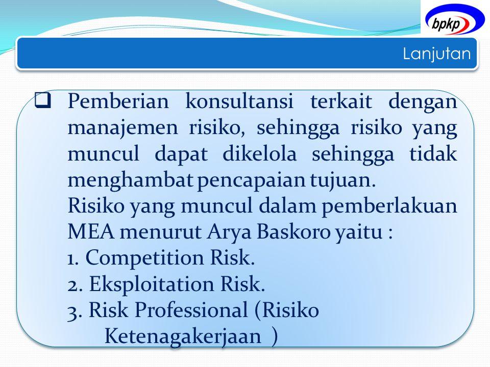 Lanjutan  Pemberian konsultansi terkait dengan manajemen risiko, sehingga risiko yang muncul dapat dikelola sehingga tidak menghambat pencapaian tuju
