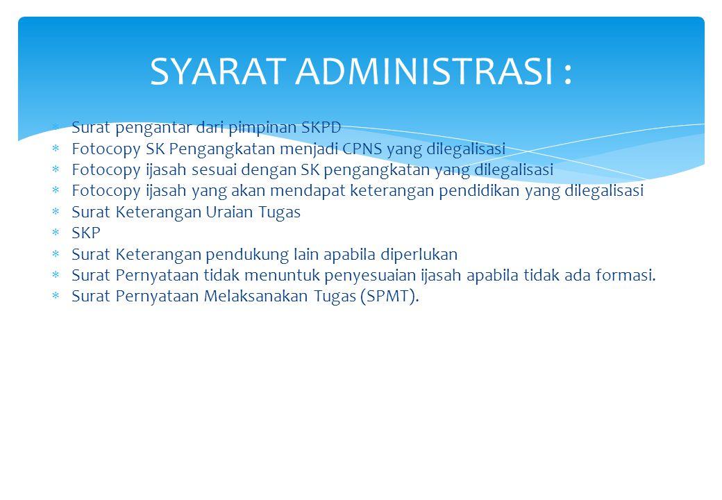  Surat pengantar dari pimpinan SKPD  Fotocopy SK Pengangkatan menjadi CPNS yang dilegalisasi  Fotocopy ijasah sesuai dengan SK pengangkatan yang di
