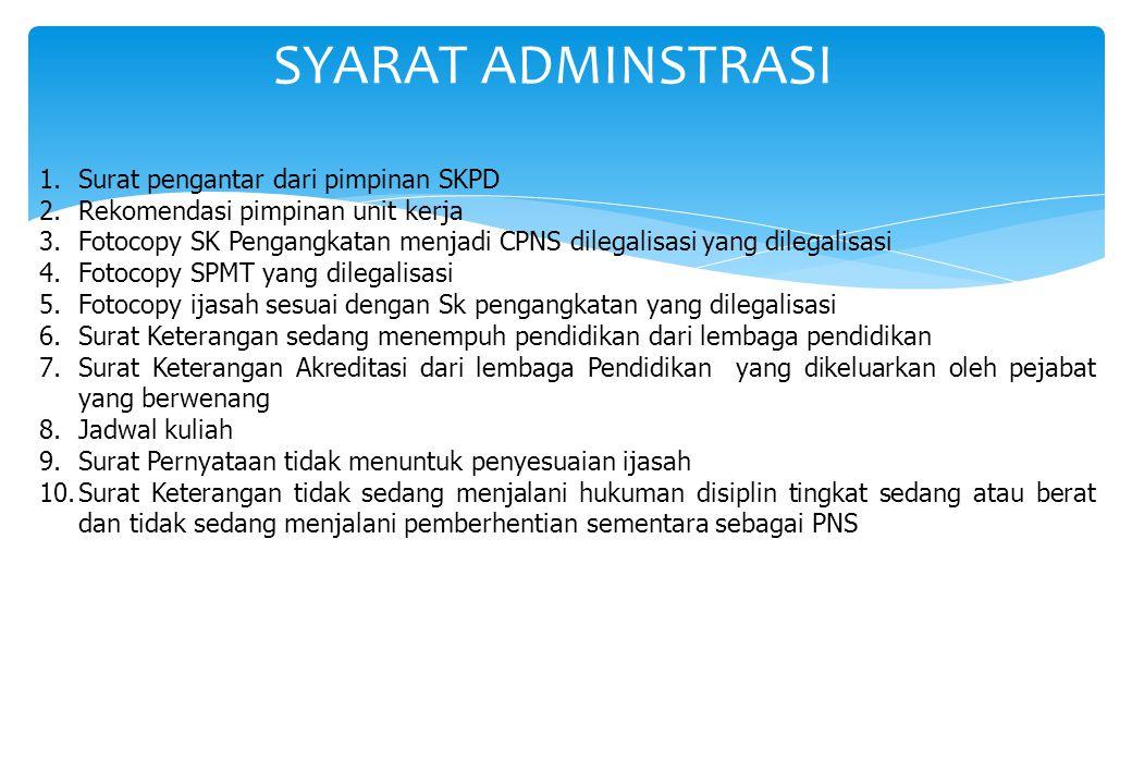 SYARAT ADMINSTRASI 1.Surat pengantar dari pimpinan SKPD 2.Rekomendasi pimpinan unit kerja 3.Fotocopy SK Pengangkatan menjadi CPNS dilegalisasi yang di