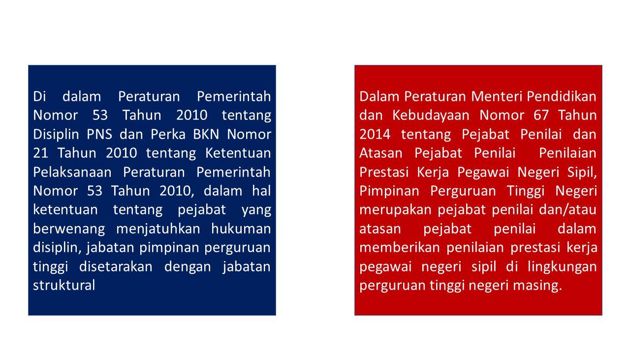 Di dalam Peraturan Pemerintah Nomor 53 Tahun 2010 tentang Disiplin PNS dan Perka BKN Nomor 21 Tahun 2010 tentang Ketentuan Pelaksanaan Peraturan Pemer