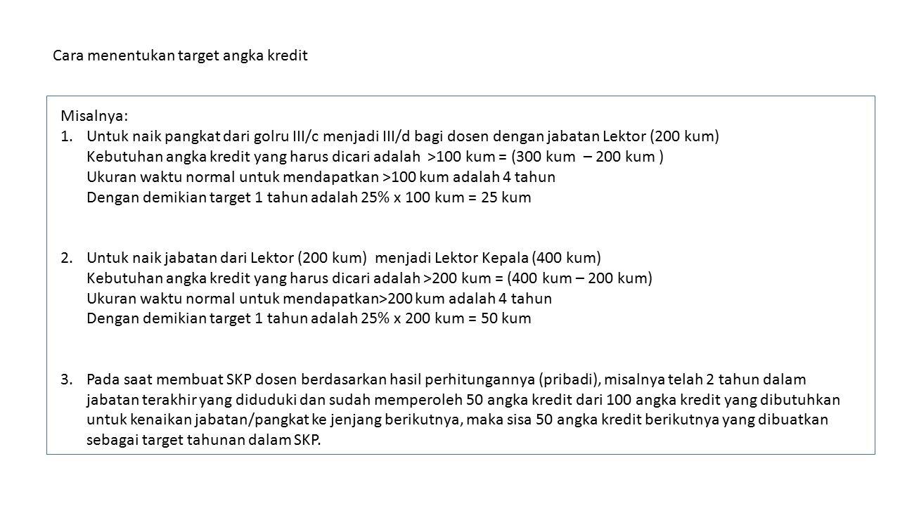 Cara menentukan target angka kredit Misalnya: 1.Untuk naik pangkat dari golru III/c menjadi III/d bagi dosen dengan jabatan Lektor (200 kum) Kebutuhan