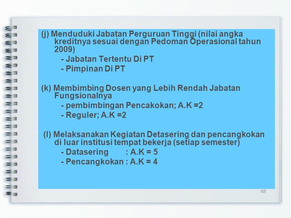 (i) Orasi Ilmiah: - Pidato Ilmiah - Forum Kegiatan Tradisi Akademik - Diesnatalis - Wisuda Lulusan - A.K = 5 Batas maksimal : - 2 PERGURUAN TINGGI/semester 47