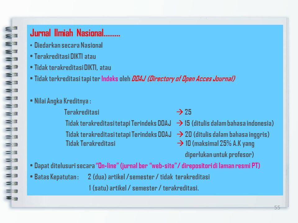 54 Jurnal Ilmiah Nasional Substansi satu masalah dalam satu bidang ilmu Memenuhi kaidah ilmiah dan etika keilmuan yang utuh (rumusan masalah, pemecahan masalah,hasil dan pembahasan, dukungan teori mutahir, kesimpulan, daftar pustaka) Diterbitkan oleh Badan ilmiah/organisasi/PT Bahasa Indonesia dan atau Bahasa Inggris Memuat karya ilmiah dari penulis yang berasal dari minimal dua institusi berbeda Dewan Redaksi terdiri dari para akhli dalam bidangnya dan berasal dari minimal dua institusi berbeda Memiliki ISSN.
