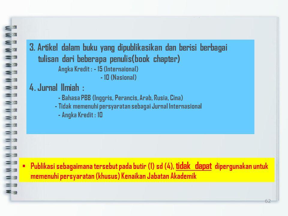 61 3.Prosiding Ditulis dalam bahasa Indonesia Editor yang sesuai dengan bidang ilmunya Memiliki ISBN Diterbitkan oleh organisasi profesi, PT, Lembaga Penelitian Dapat ditelusuri secara on-line atau direpositori di laman resmi PT Angka Kredit : 10 (maksimal 25% dari A.K yang diperlukan untuk semua jenjang) Batas Maksimal : 2 (dua) Makalah/semester Catatan : 1.Hasil Penelitian disajikan dalam seminar tetapi tidak dimuat dalam prosiding yang dipublikasikan Angka Kredit : - 5 (Internasional) - 3 (Nasional) 2.