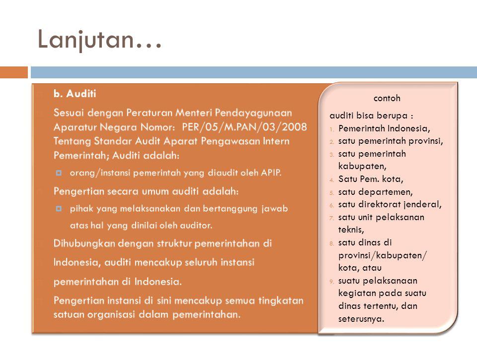 Lanjutan… contoh auditi bisa berupa : 1. Pemerintah Indonesia, 2. satu pemerintah provinsi, 3. satu pemerintah kabupaten, 4. Satu Pem. kota, 5. satu d