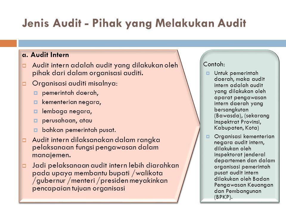 Jenis Audit - Pihak yang Melakukan Audit a. Audit Intern  Audit intern adalah audit yang dilakukan oleh pihak dari dalam organisasi auditi.  Organis