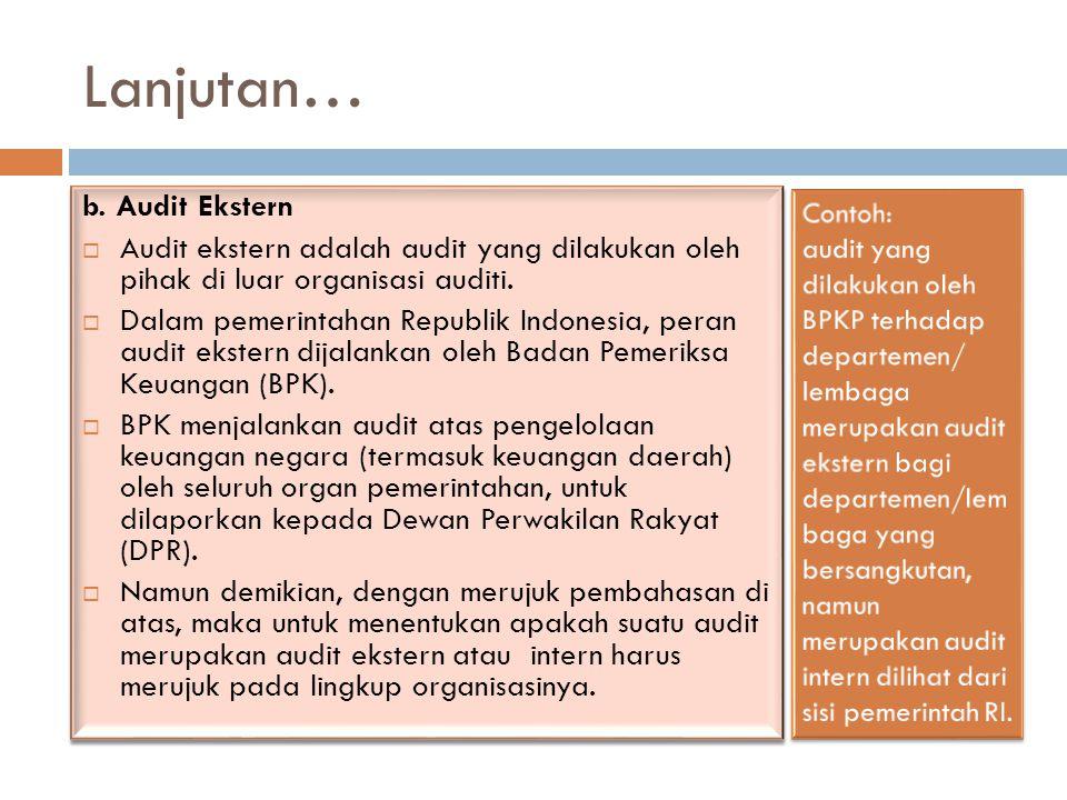 Lanjutan… b. Audit Ekstern  Audit ekstern adalah audit yang dilakukan oleh pihak di luar organisasi auditi.  Dalam pemerintahan Republik Indonesia,