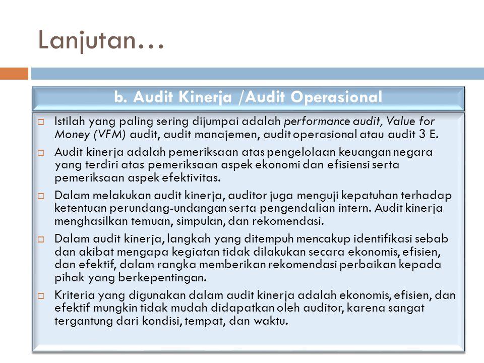 Lanjutan…  Istilah yang paling sering dijumpai adalah performance audit, Value for Money (VFM) audit, audit manajemen, audit operasional atau audit 3