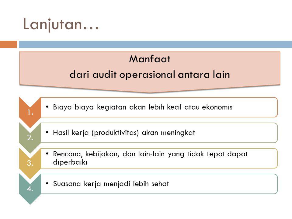 Lanjutan… Manfaat dari audit operasional antara lain Manfaat dari audit operasional antara lain 1. Biaya-biaya kegiatan akan lebih kecil atau ekonomis