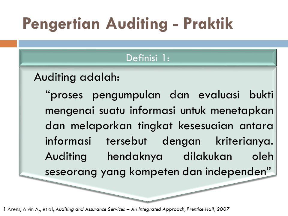 """Pengertian Auditing - Praktik Auditing adalah: """"proses pengumpulan dan evaluasi bukti mengenai suatu informasi untuk menetapkan dan melaporkan tingkat"""