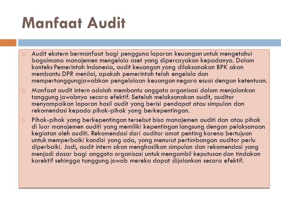 Manfaat Audit  Audit ekstern bermanfaat bagi pengguna laporan keuangan untuk mengetahui bagaimana manajemen mengelola aset yang dipercayakan kepadany