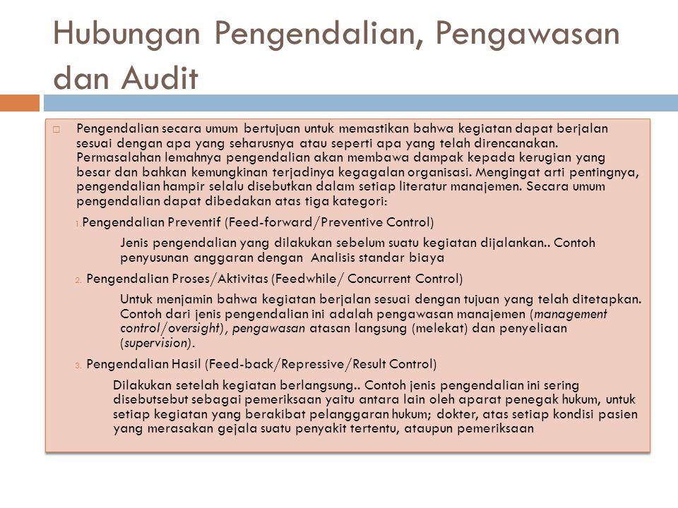 Hubungan Pengendalian, Pengawasan dan Audit  Pengendalian secara umum bertujuan untuk memastikan bahwa kegiatan dapat berjalan sesuai dengan apa yang