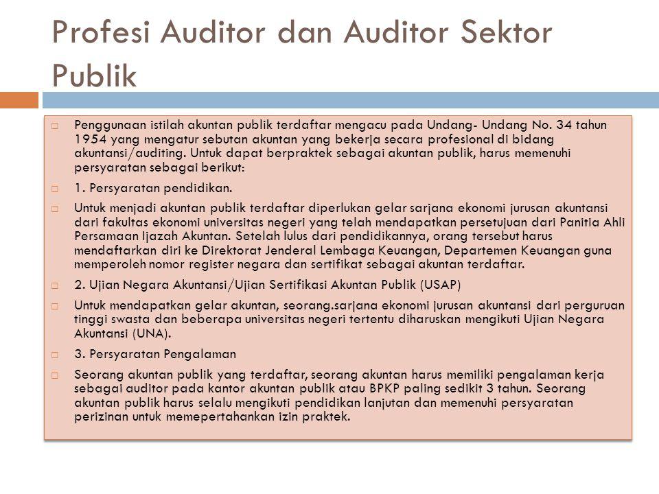 Profesi Auditor dan Auditor Sektor Publik  Penggunaan istilah akuntan publik terdaftar mengacu pada Undang- Undang No. 34 tahun 1954 yang mengatur se