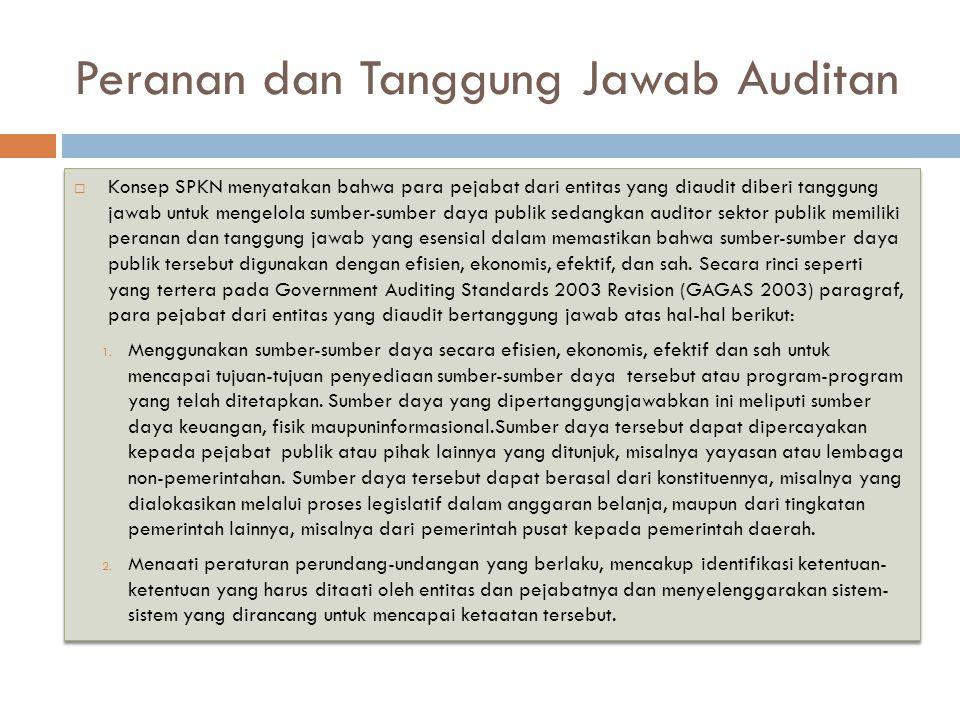 Peranan dan Tanggung Jawab Auditan  Konsep SPKN menyatakan bahwa para pejabat dari entitas yang diaudit diberi tanggung jawab untuk mengelola sumber-