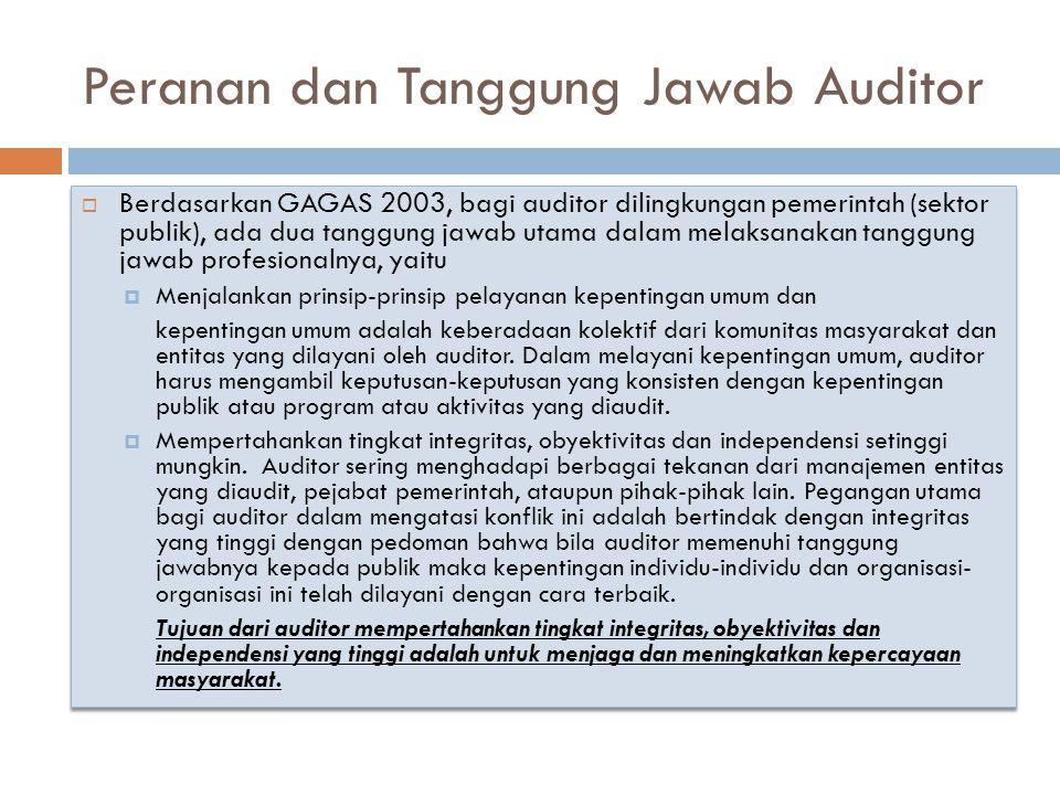 Peranan dan Tanggung Jawab Auditor  Berdasarkan GAGAS 2003, bagi auditor dilingkungan pemerintah (sektor publik), ada dua tanggung jawab utama dalam