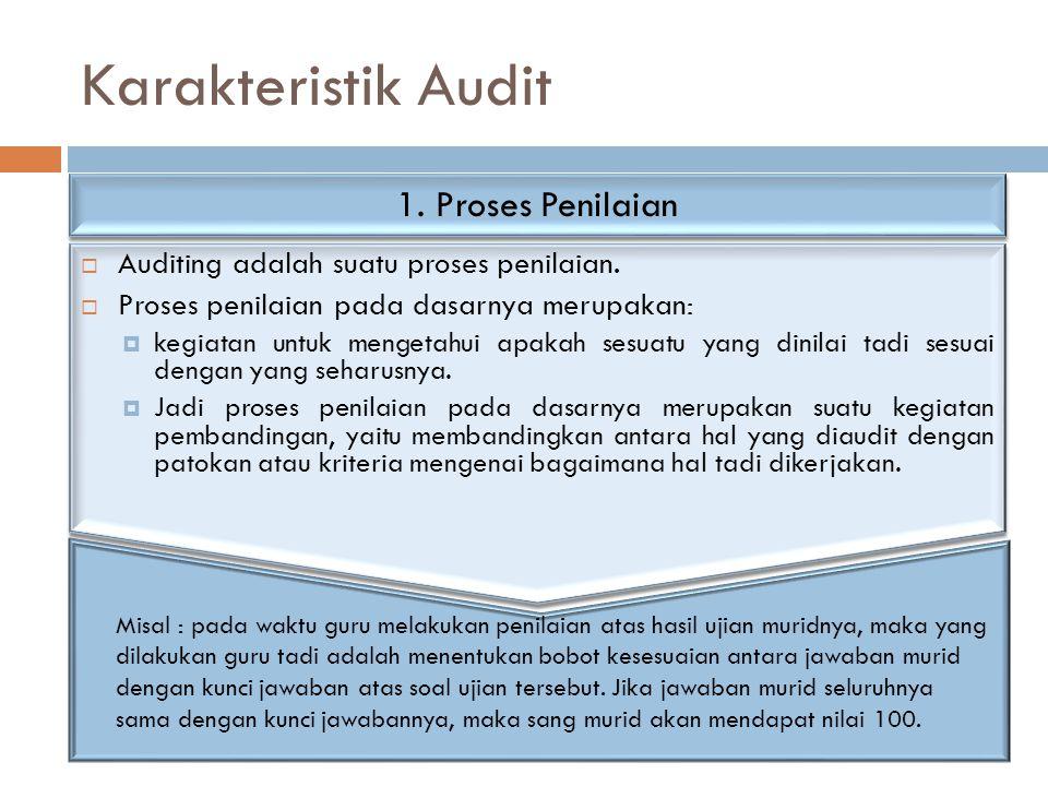 Karakteristik Audit  Auditing adalah suatu proses penilaian.  Proses penilaian pada dasarnya merupakan:  kegiatan untuk mengetahui apakah sesuatu y