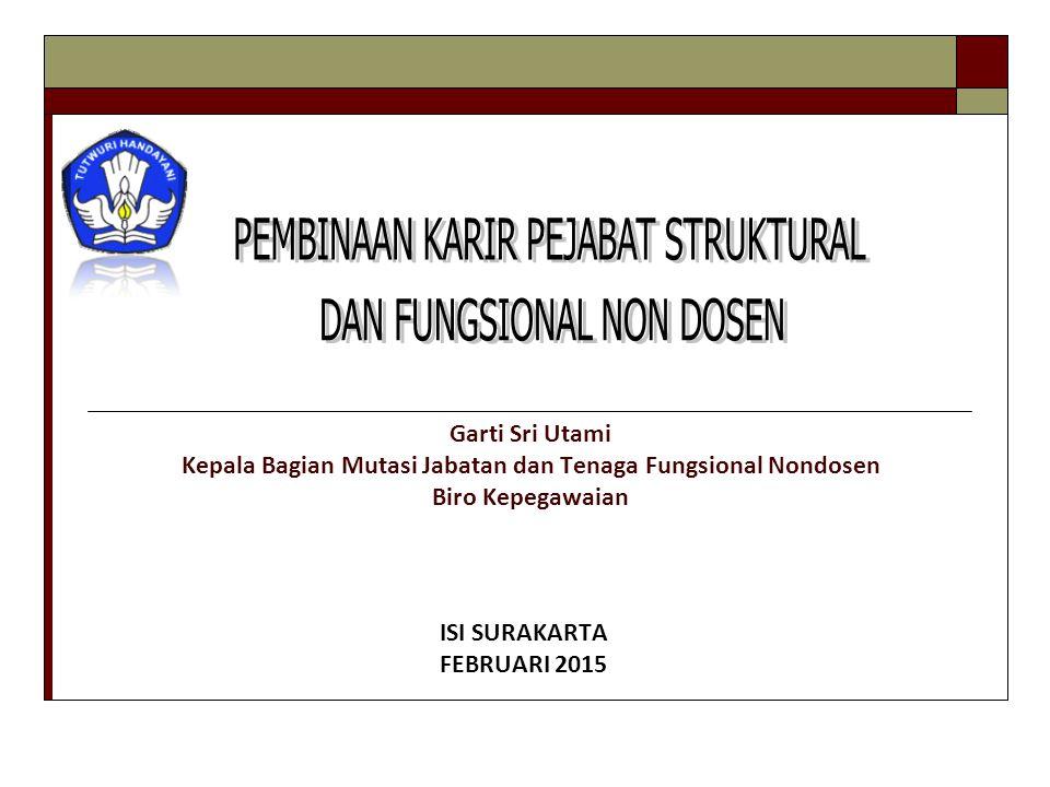 * Jabatan struktural adalah jabatan yang secara tegas ada dalam struktur organisasi (PP 100/2000 jo PP 13/2002) Jabatan fungsional adalah jabatan yang tidak secara tegas disebutkan dalam struktur organisasi, tetapi dari sudut fungsinya diperlukan oleh organisasi.