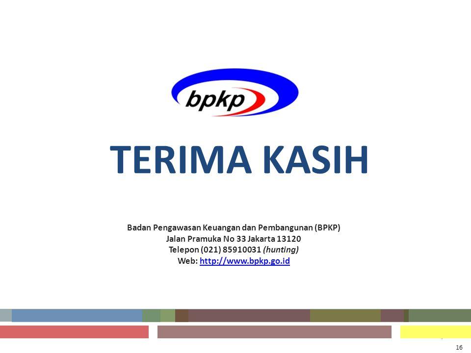 . Badan Pengawasan Keuangan dan Pembangunan (BPKP) Jalan Pramuka No 33 Jakarta 13120 Telepon (021) 85910031 (hunting) Web: http://www.bpkp.go.idhttp:/