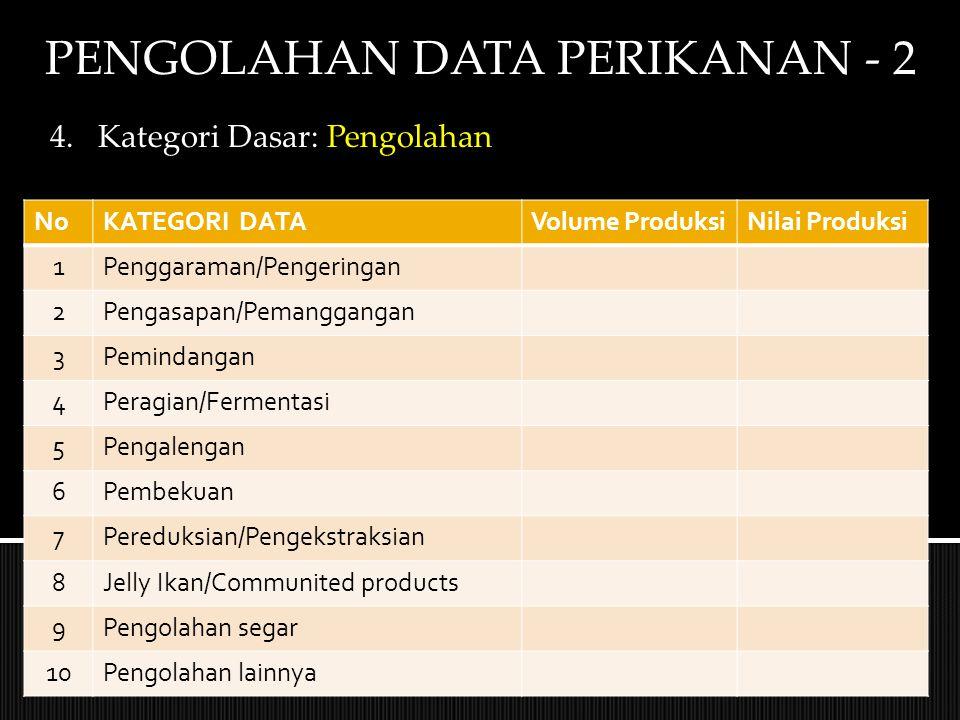 PENGOLAHAN DATA PERIKANAN - 2 4.Kategori Dasar: Pengolahan NoKATEGORI DATAVolume ProduksiNilai Produksi 1Penggaraman/Pengeringan 2Pengasapan/Pemanggan