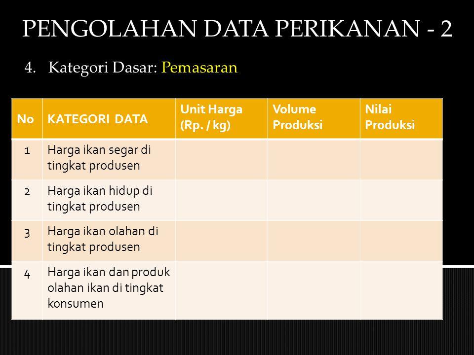 PENGOLAHAN DATA PERIKANAN - 2 4.Kategori Dasar: Pemasaran NoKATEGORI DATA Unit Harga (Rp. / kg) Volume Produksi Nilai Produksi 1Harga ikan segar di ti
