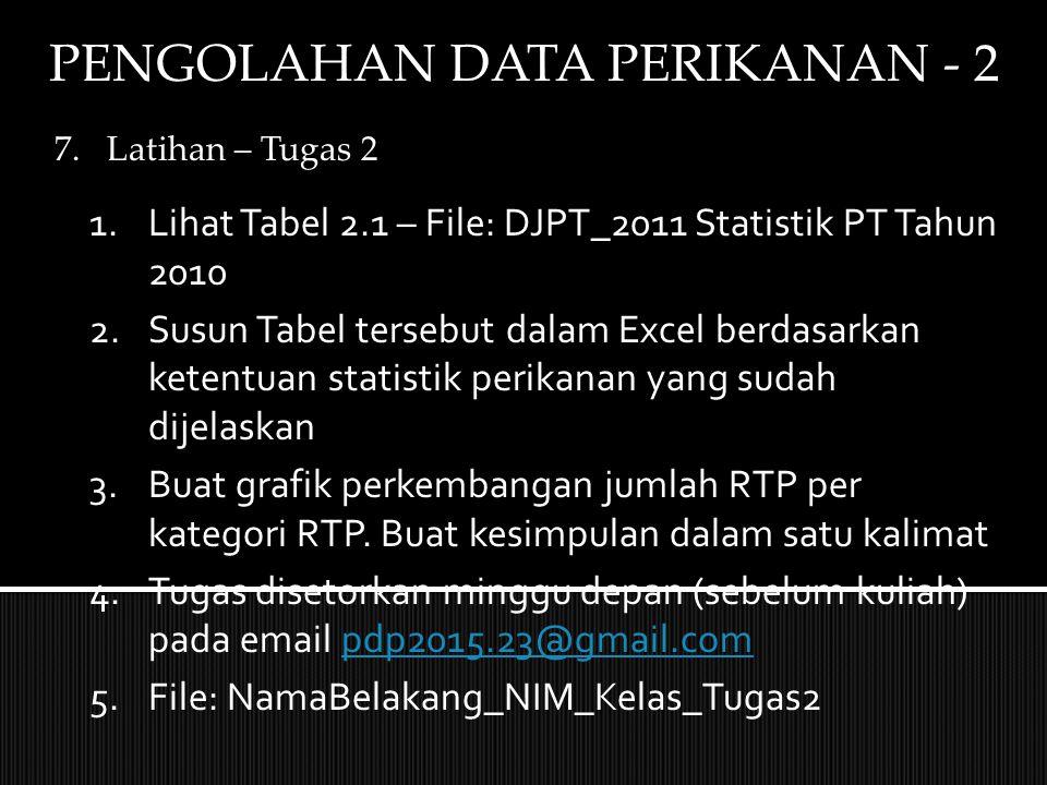 PENGOLAHAN DATA PERIKANAN - 2 7.Latihan – Tugas 2 1.Lihat Tabel 2.1 – File: DJPT_2011 Statistik PT Tahun 2010 2.Susun Tabel tersebut dalam Excel berdasarkan ketentuan statistik perikanan yang sudah dijelaskan 3.Buat grafik perkembangan jumlah RTP per kategori RTP.