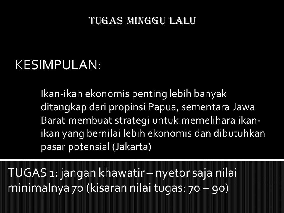 Tugas MINGGU LALU KESIMPULAN: Ikan-ikan ekonomis penting lebih banyak ditangkap dari propinsi Papua, sementara Jawa Barat membuat strategi untuk memelihara ikan- ikan yang bernilai lebih ekonomis dan dibutuhkan pasar potensial (Jakarta) TUGAS 1: jangan khawatir – nyetor saja nilai minimalnya 70 (kisaran nilai tugas: 70 – 90)