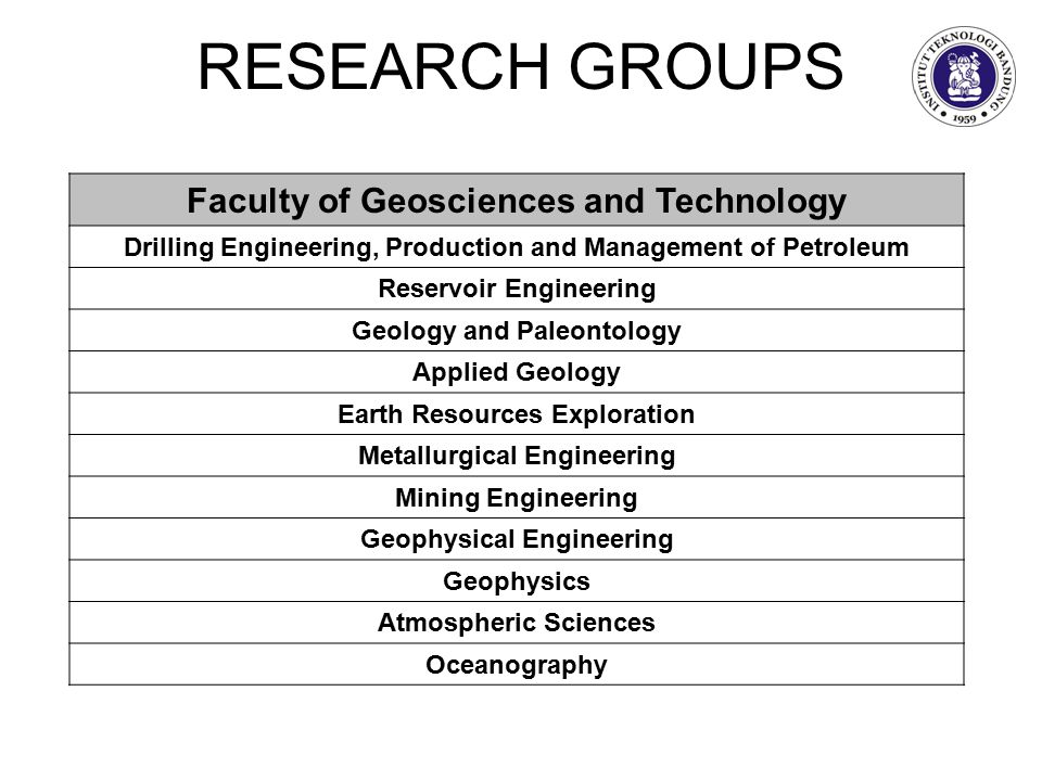 RESEARCH GROUPS Faculty of Geosciences and Technology Drilling Engineering, Production and Management of Petroleum Reservoir Engineering Geology and Paleontology Applied Geology Earth Resources Exploration Metallurgical Engineering Mining Engineering Geophysical Engineering Geophysics Atmospheric Sciences Oceanography