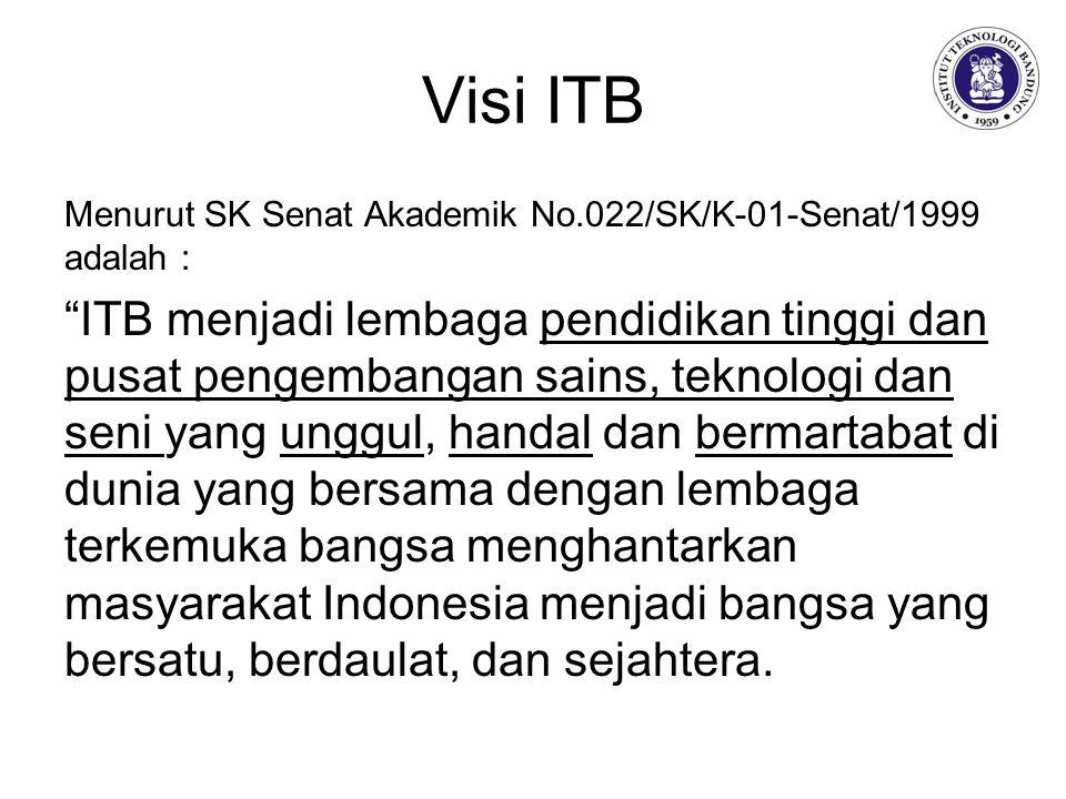 Visi ITB Menurut SK Senat Akademik No.022/SK/K-01-Senat/1999 adalah : ITB menjadi lembaga pendidikan tinggi dan pusat pengembangan sains, teknologi dan seni yang unggul, handal dan bermartabat di dunia yang bersama dengan lembaga terkemuka bangsa menghantarkan masyarakat Indonesia menjadi bangsa yang bersatu, berdaulat, dan sejahtera.
