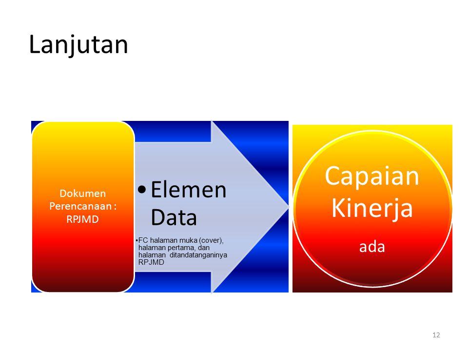 Lanjutan Elemen Data FC halaman muka (cover), halaman pertama, dan halaman ditandatanganinya RPJMD Dokumen Perencanaan : RPJMD 12 Capaian Kinerja ada