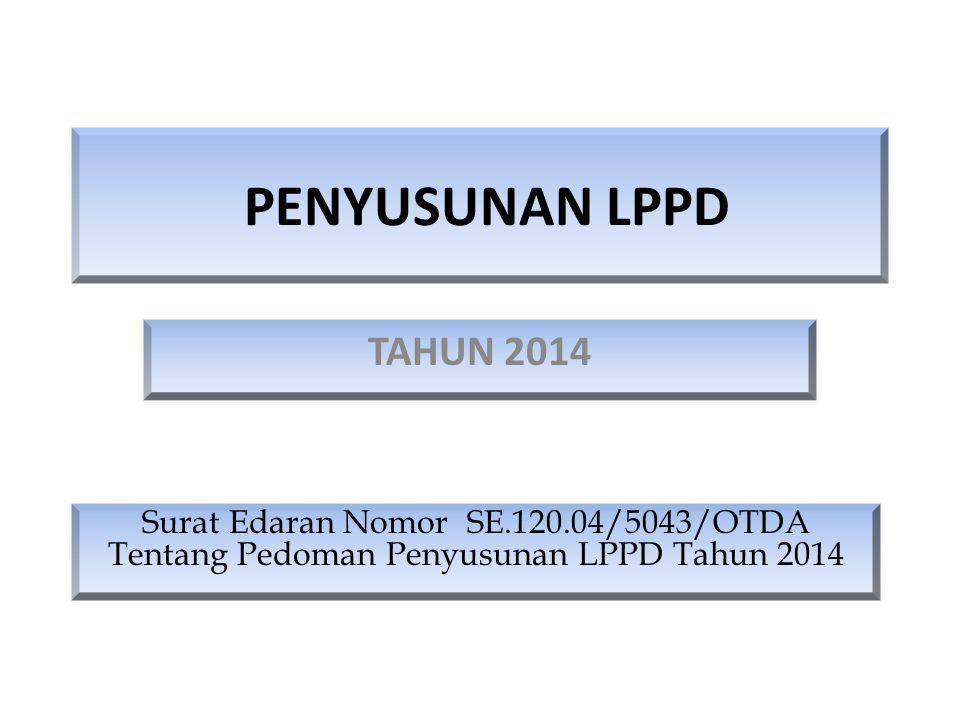 Dasar Hukum Penyusunan LPPD Peraturan Pemerintah Nomor 3 Tahun 2007 tentang Laporan Penyelenggaraan Pemerintahan Daerah (LPPD), Laporan Keterangan Pertanggungjawaban (LKPJ) dan Informasi Laporan Penyelenggaraan Pemerintahan Daerah (ILPPD) Surat Edaran Nomor SE.120.04/5043/OTDA Tentang Pedoman Penyusunan LPPD Tahun 2014 Surat Edaran Menteri Dalam Negeri Nomor 120.04/385/OTDA tanggal 3 Februari 2014 perihal Pedoman Penyusunan LPPD Tahun 2013
