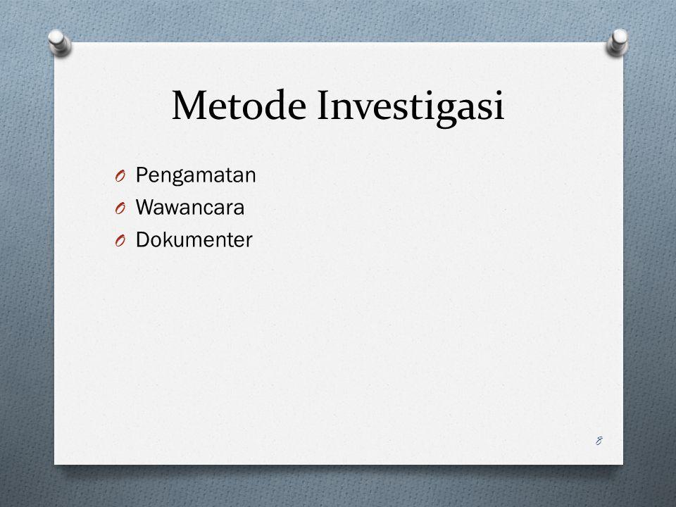 Metode Investigasi O Pengamatan O Wawancara O Dokumenter 8