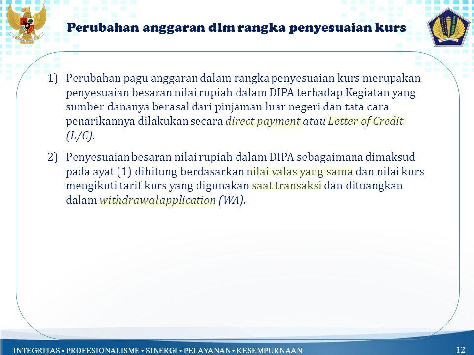 INTEGRITAS PROFESIONALISME SINERGI PELAYANAN KESEMPURNAAN 11 Lanjutan Pelaksanaan Kegiatan PNPM 1)Perubahan rincian anggaran yang disebabkan adanya la